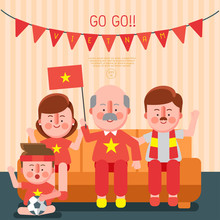 Happy Family Cheering Sport Wi...