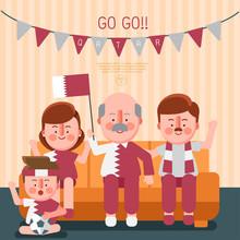 Happy Family Cheering Sport Wi...