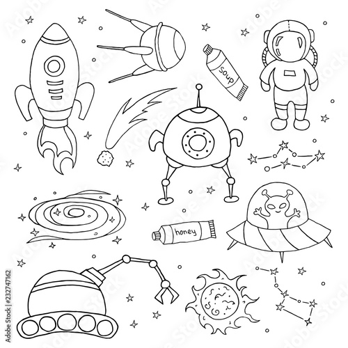 In de dag Cartoon draw Set of different space objects.