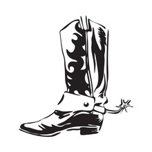 Hand Drawn Cowboy Boot With Sp...
