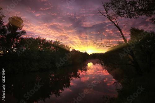 Fotobehang Rood Beautiful summer sunset