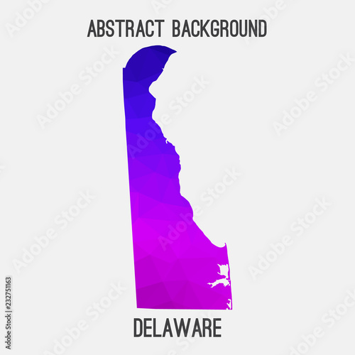 Photo  Delaware map low poly geometric polygonal,mosaic style,abstract tessellation,modern design background