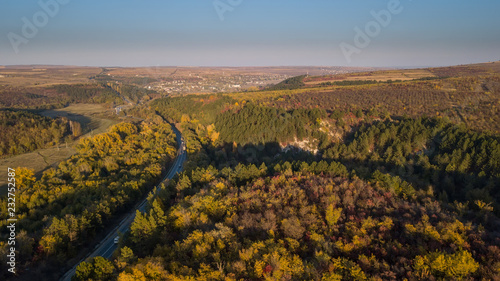 Printed kitchen splashbacks South Africa Aerial view of the road through fall forest