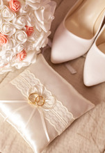 Wedding Detail - Shoes, Rings And Flowers On Soft Background