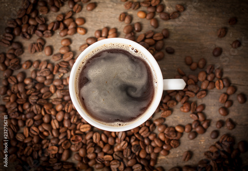 Fotografie, Obraz  Top view on cup of coffee
