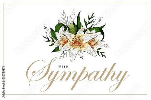 Fotomural Condolences sympathy card floral lily bouquet and lettering