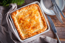 Puff Pastry Pie With Chicken, ...