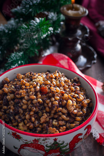 Christmas kutia from wheat, raisins and nuts, selective focus