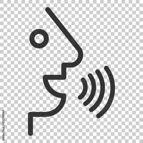 Voice command with sound waves icon in flat style Fototapet