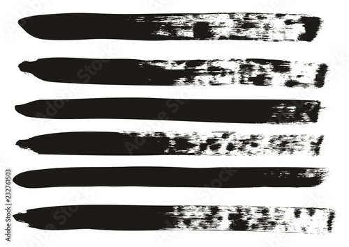Fotografie, Obraz  Calligraphy Paint Brush Lines High Detail Abstract Vector Background Set 57