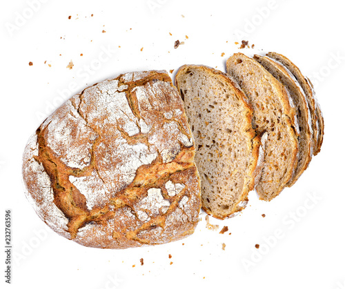 Spoed Foto op Canvas Brood Fresh rye bread or whole grain bread. Isolated object on white background. Healthy baked bread, whole bread on white background.