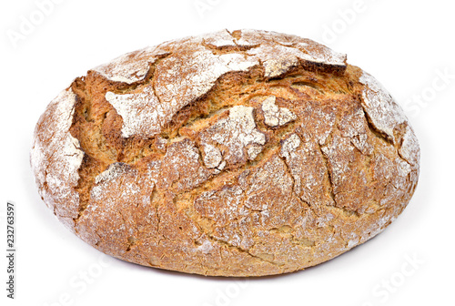 Tuinposter Brood Fresh rye bread or whole grain bread. Isolated object on white background. Healthy baked bread, whole bread on white background.
