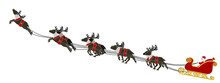 Composition Of  Santa And His Reindeer On Transparent Background