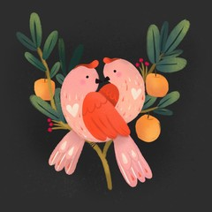 Fototapeta Do sypialni Cute pink birds in love sitting on apple tree branches. Dark background. Hand drawn St. Valentine's day illustration