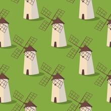 Set Vector Image Pattern Windmills On The Grass