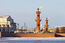 Saint Petersburg. The Fire Burns On The Rostral Columns On The Christmas Holiday