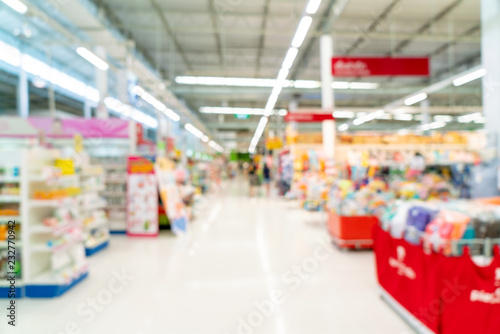 Photo abstract blur in supermarket for background