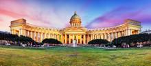 Russia - Saint Petersburg, Kazan Cathedral At Sunset, Nobody