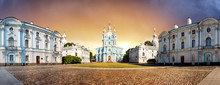 Panorama Of Smolny Cathedral At Sunrise, Saint Petersburg - Russia
