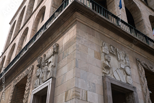 Fotografie, Obraz  Milano, Italy - September 19, 2018 : Details of Arengario Palazzo, bas-relief by