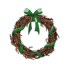 Christmas Wreath Of Branches