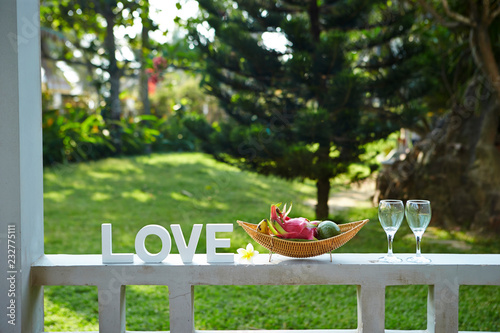 Tropical fruits and word love Canvas Print