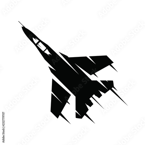 Fotografía Fighter jet flying on a white background