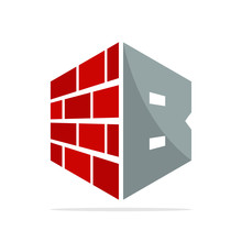 The Initial Logo Icon For The Construction Business With The Concept Of A Combination Of Red Brick And Letter B