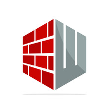 The Initial Logo Icon For The Construction Business With The Concept Of A Combination Of Red Brick And Letter W