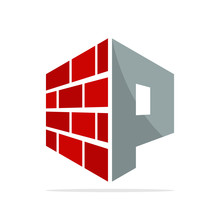 The Initial Logo Icon For The Construction Business With The Concept Of A Combination Of Red Brick And Letter P