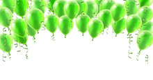 A Green Party Balloons Isolated Header Background