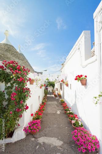 Alberobello, Apulia - Streets full of flowers within the traditional buildings Wallpaper Mural