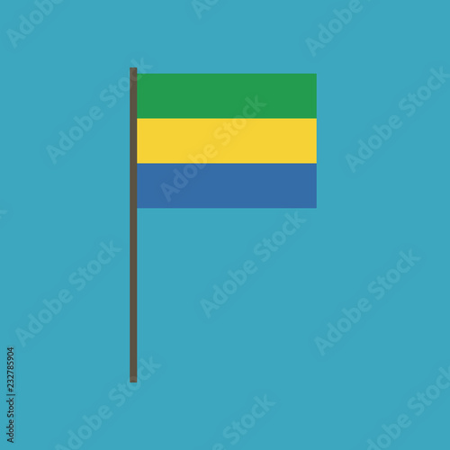 Fotografie, Obraz  Gabon flag icon in flat design