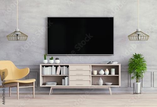 Pinturas sobre lienzo  3D rendering of interior living room with Smart TV