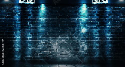 Background of a dark room with brick walls and concrete floor. Neon light, spotlight, smoke, fog, smog - 232787107