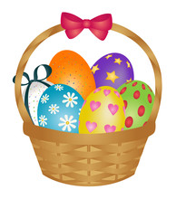 Basket Of Painted Easter Eggs With Ribbon Bow