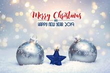 Blue Star Between Christmas Balls