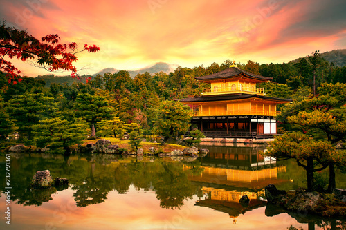 Spoed Foto op Canvas Asia land Kinkaku-ji temple ,Temple of the Golden Pavilion kyoto japan one of most popular traveling destination