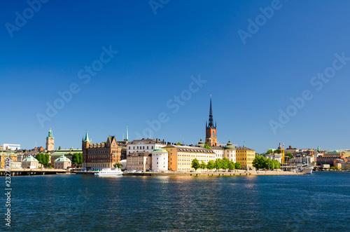 Deurstickers Stockholm Riddarholmen island with Riddarholm Church spires, Stockholm, Sweden