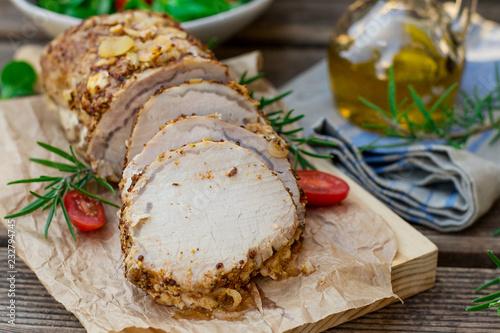 Roast pork loin in mustard marinade with rosemary Canvas Print