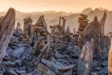 Cairns On The Peterskopfl, Ginzling, Zillertal, Tyrol, Austria