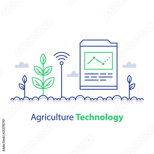 Smart Farming Agriculture Technology Plant Stem And Report Chart