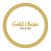 Golden Chain Round Border Frame. Seamless Wreath Circle Shape.