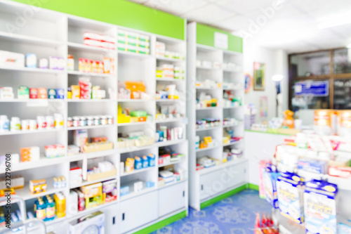 Photo sur Toile Pharmacie blur shelves of drugs in the pharmacy