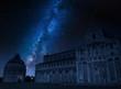 Milky way over monuments in Pisa, Italy