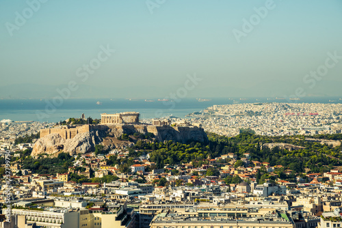 View of Athens and Acropolis hill Canvas Print