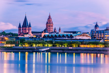 Mainz Cityscape Color Picture In The Blue Hour With St. Martin´s Cathedral