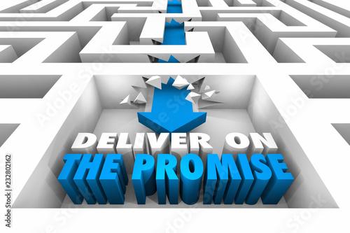 Deliver on the Promise Maze Arrow Achieve Success 3d Illustration Wallpaper Mural