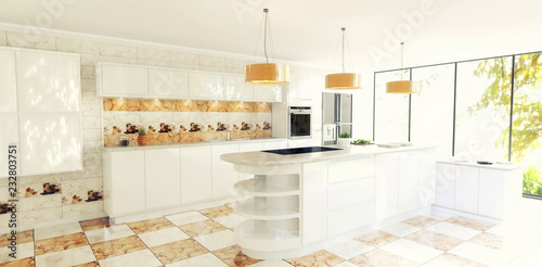 Beautiful Modern Spacious Kitchen Interior Scene White Walls White Cabinets Marble Effect Orange And White Checker Tiles And Matching Kitchen Backsplash Buy This Stock Illustration And Explore Similar Illustrations At Adobe