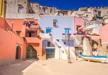 Procida Island Colorful Small Town Street, Italy, Retro Toned